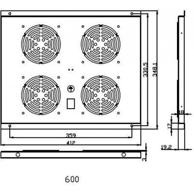 FU.P600.004 ventilační jednotka, 4 ventilátory, h600