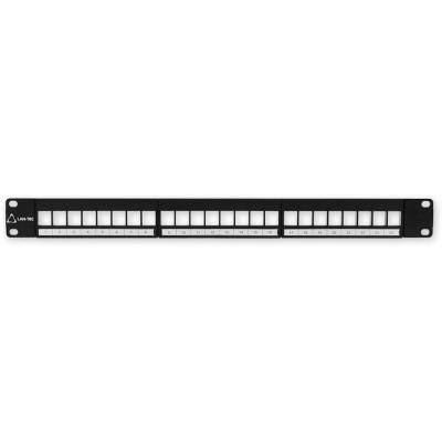 """PP-107 24 EMPTY - černá 19"""" patch panel 1U, pro 24 KJ"""