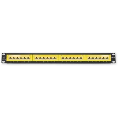 """PP-115 24P/C5E/-45° - žlutá 19"""" patch panel 1U, 24 portů C5E"""
