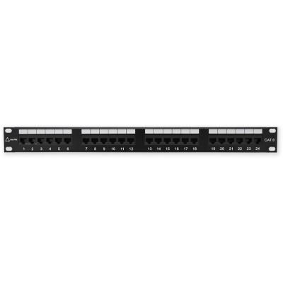 """PP-152 24P/C6 - černá 19"""" patch panel 1U, 24 portů C6"""