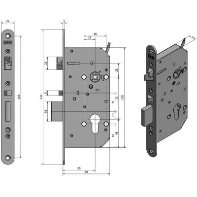 SAM EL B P 7255 elektromechanický samozamykací zámek