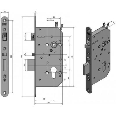 SAM EL MI B P 7255 elektromechanický samozamykací zámek