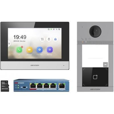 DS-KIS604-S(EU) Sada IP videotelefonu, dveřní stanice, switche a MicroSD karty