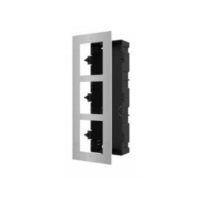 DS-KD-ACF3/S zápustná instalační krabička s rámečkem pro 3 moduly, nerez, 2.gen.