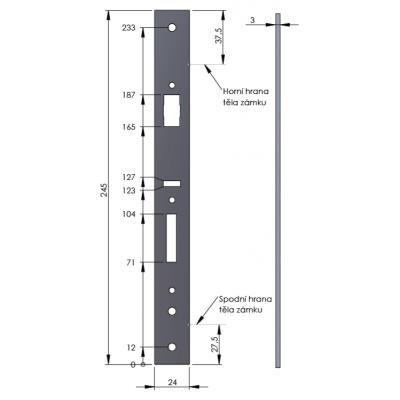890200-41-2Z, panikové kování - hrazda, 2-bodové, povrchové, černé, šířka do 1200mm, výška do 2300mm
