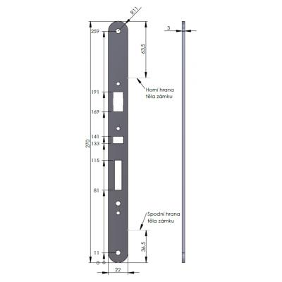 890100-36-2Z, panikové kování - hrazda, 1-bodové, povrchové, černé, protipožární, šířka do 1200mm